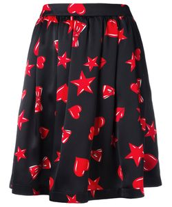 Moschino | Heart Print Skater Skirt 38 Silk/Acetate/Viscose