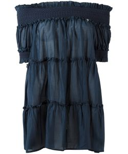 Twin-set   Off-Shoulder Blouse Womens Size 44 Cotton/Silk