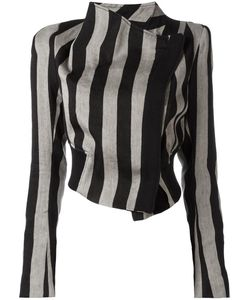 Ann Demeulemeester | Striped Cropped Jacket 38 Linen/Flax/Polyester/Cotton/Rayon