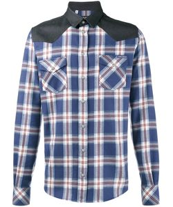 Dolce & Gabbana | Клетчатая Рубашка С Контрастными Панелями На Плечах