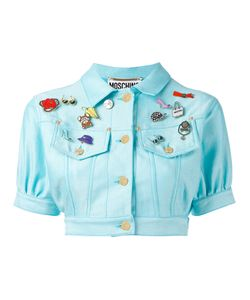 MOSCHINO VINTAGE   Cropped Denim Badge Jacket Cotton/Polyester/Other