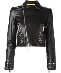 Dsquared2 | Studded Biker Cropped Jacket 42 Calf Leather/Polyester