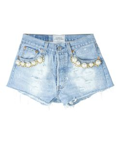 FORTE COUTURE | Pearl Detail Distressed Mini Shorts