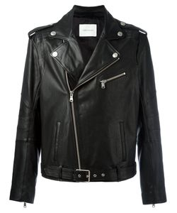 Pierre Balmain | Zipped Biker Jacket 48 Calf Leather/Viscose/Cotton