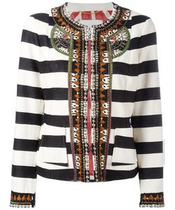 BAZAR DELUXE | Stripe Embellished Cropped Jacket Size 44