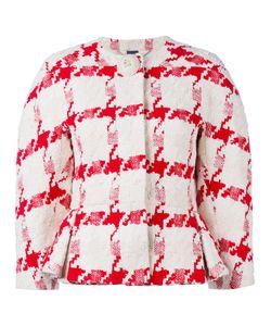 Alexander McQueen | Houndstooth Peplum Jacket 40 Silk/Cotton/Linen/Flax/Silk