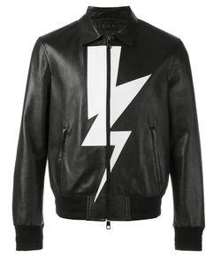 Neil Barrett | Lightning Bolt Bomber Jacket Medium Leather/Viscose/Polyester