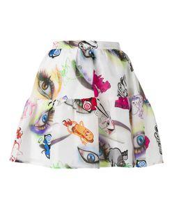 Kenzo   Visage Eye Print Mini Skirt 40 Linen/Flax/Silk/Polyester