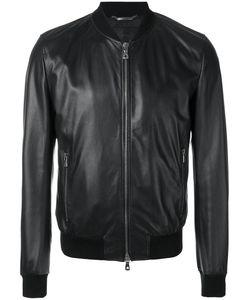 Dolce & Gabbana   Leather Bomber Jacket 48 Cotton/Polyester/Spandex/Elastane/Polyamide