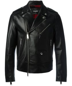 Dsquared2 | Classic Biker Jacket 50 Wool/Polyester/Cotton/Calf Leather