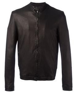 SALVATORE SANTORO | Banded Collar Leather Jacket 50 Leather