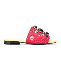 Toga Pulla | Embellished Flat Sandals 40 Calf Leather/Pvc/Leather