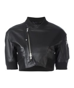 Diesel Black Gold | Off-Centre Zip Cropped Jacket 42 Leather/Nylon/Acetate/Rayon