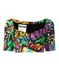 Moschino | Logo Print Cropped Top 40 Silk/Rayon