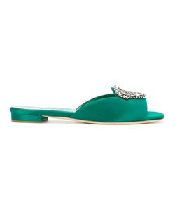 Manolo Blahnik | Embellished Brooch Sandals