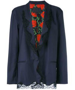 Alexander Wang | Lace Trim Pinstriped Blazer Size 2 Silk/Virgin