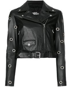 Jeremy Scott | Eyelet Detail Cropped Biker Jacket Women