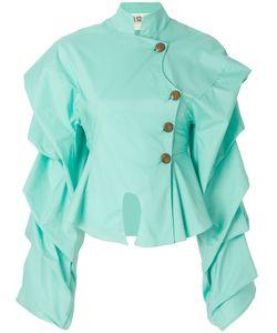 A.W.A.K.E.   . Ruffle-Sleeve Peplum Shirt Women 34