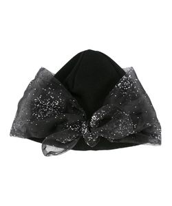 FEDERICA MORETTI | Glitter Bow Detail Beanie Polyester/Cotton
