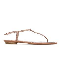 Rene' Caovilla | René Caovilla Crystal Strap Sandals 40 Leather/Satin
