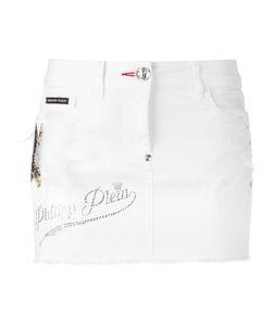Philipp Plein | Embellished Mini-Skirt 28 Cotton/Spandex/Elastane/Pvc/Feather