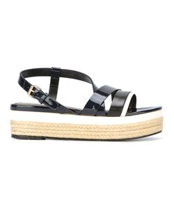Lanvin | Crossover Strap Wedge Sandals 40 Leather/Patent Leather/Raffia