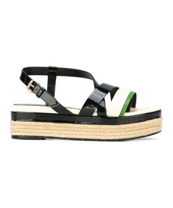 Lanvin | Strap Detail Wedge Sandals 39 Leather/Patent Leather/Raffia/Leather