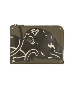 Valentino | Panther Document Case Cotton/Leather