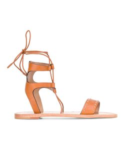 Red Valentino | Ankle Strap Flat Sandals 39 Leather