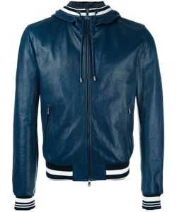 Dolce & Gabbana | Leather Hooded Jacket 46 Lamb