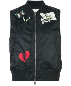 Cinq A Sept | Sleeveless Patch-Embellished Bomber Gilet Women