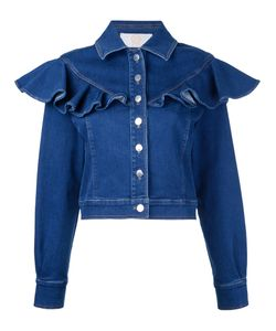 Sara Battaglia   Ruffled Denim Jacket Size 44