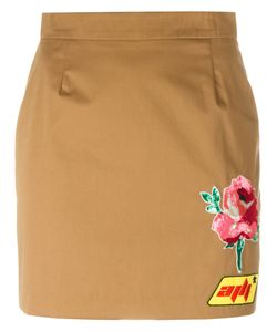Au Jour Le Jour | Patch Detail Mini-Skirt 38 Cotton/Spandex/Elastane/Viscose/Pvc