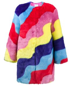 Mira Mikati | Faux Fur Rainbow Wave Coat Women