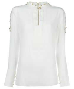 Pierre Balmain | Buttoned Shoulder Detail Blouse 36 Silk