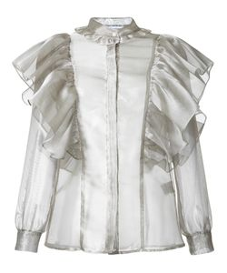 FLEAMADONNA | Ruffled Sheer Blouse Size Medium