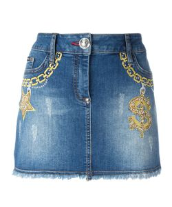 Philipp Plein | Embroide Short Denim Skirt 27 Cotton/Spandex/Elastane