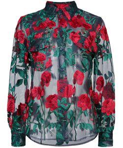 ADAM SELMAN | Sheer Rose Embroidered Blouse Women