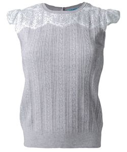 GUILD PRIME | Cable Knit Lace Panel Detail Sleeveless Knitted Top