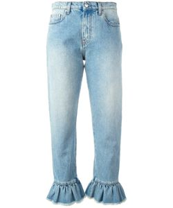 MSGM | Ruffle-Trimmed Cropped Jeans 42 Cotton/Polyester