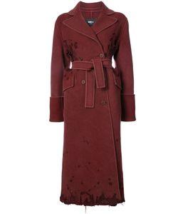 Yang Li   Двубортное Пальто С Потертой Отделкой