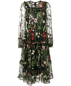 Odeeh | Платье С Прозрачными Панелями И Цветочной Вышивкой