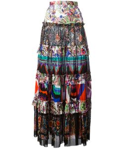 Roberto Cavalli | Enchanted Garden Tie Maxi Skirt 44 Cotton