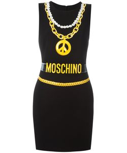 Moschino | Trompe-Loeil Chain Necklace Dress 40 Polyester/Viscose/Triacetate