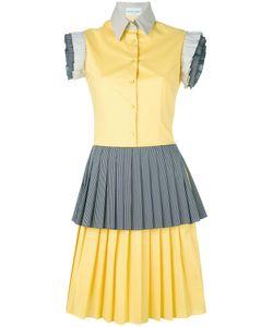 Daizy Shely | Ruffle Sleeve Pleated Dress 44 Cotton/Polyamide/Spandex/Elastane