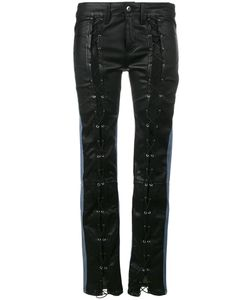 Filles A Papa | Leather Front Mid Rise Skinny Jeans