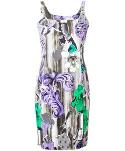 Versace Collection | Printed Shoulder Clasp Dress 40