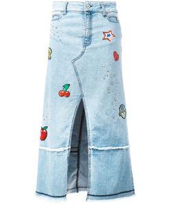 Just Cavalli | Patched Denim Midi-Skirt Size 42