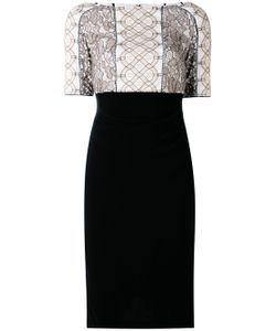 Talbot Runhof | Lace Appliqué Fitted Dress
