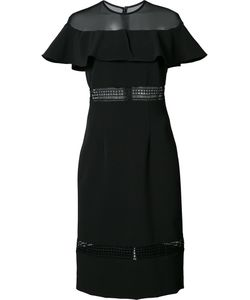 Nicole Miller | Sheer Panel Ruffled Dress 4 Polyester/Nylon/Spandex/Elastane/Silicone